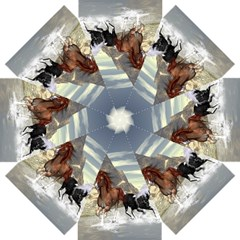 Beautiful Horses Running In A River Straight Umbrellas