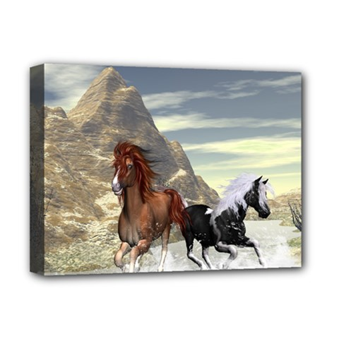 Beautiful Horses Running In A River Deluxe Canvas 16  X 12   by FantasyWorld7