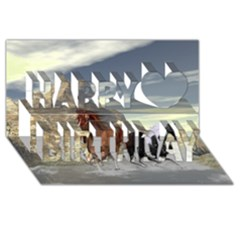 Beautiful Horses Running In A River Happy Birthday 3d Greeting Card (8x4)  by FantasyWorld7