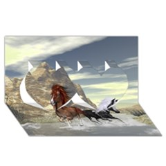 Beautiful Horses Running In A River Twin Hearts 3d Greeting Card (8x4)  by FantasyWorld7