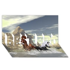 Beautiful Horses Running In A River Best Bro 3d Greeting Card (8x4)  by FantasyWorld7