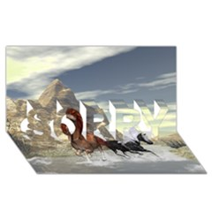 Beautiful Horses Running In A River Sorry 3d Greeting Card (8x4)