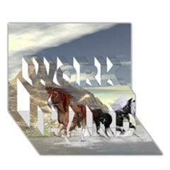 Beautiful Horses Running In A River Work Hard 3d Greeting Card (7x5)  by FantasyWorld7