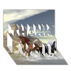 Beautiful Horses Running In A River Thank You 3d Greeting Card (7x5)  by FantasyWorld7