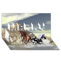 Beautiful Horses Running In A River Merry Xmas 3d Greeting Card (8x4)  by FantasyWorld7
