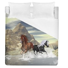 Beautiful Horses Running In A River Duvet Cover Single Side (full/queen Size)