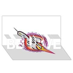 Space Rocket BELIEVE 3D Greeting Card (8x4)
