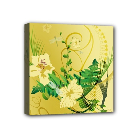 Wonderful Soft Yellow Flowers With Leaves Mini Canvas 4  X 4  by FantasyWorld7