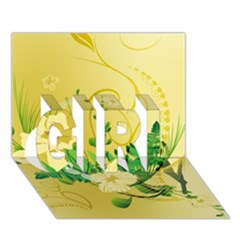 Wonderful Soft Yellow Flowers With Leaves Girl 3d Greeting Card (7x5)