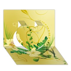 Wonderful Soft Yellow Flowers With Leaves Heart 3D Greeting Card (7x5)  by FantasyWorld7