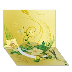 Wonderful Soft Yellow Flowers With Leaves Circle Bottom 3d Greeting Card (7x5)
