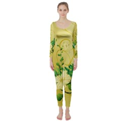 Wonderful Soft Yellow Flowers With Leaves Long Sleeve Catsuit by FantasyWorld7