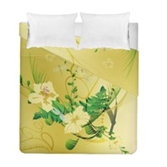 Wonderful Soft Yellow Flowers With Leaves Duvet Cover (twin Size) by FantasyWorld7