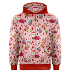 Red Christmas Pattern Men s Zipper Hoodies