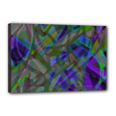 Colorful Abstract Stained Glass G301 Canvas 18  X 12  by MedusArt