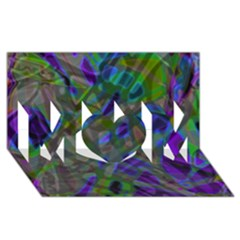 Colorful Abstract Stained Glass G301 Mom 3d Greeting Card (8x4)