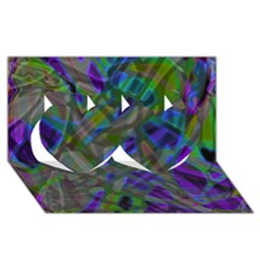 Colorful Abstract Stained Glass G301 Twin Hearts 3d Greeting Card (8x4)  by MedusArt