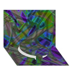 Colorful Abstract Stained Glass G301 Circle Bottom 3d Greeting Card (7x5)