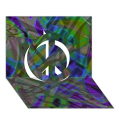Colorful Abstract Stained Glass G301 Peace Sign 3d Greeting Card (7x5)  by MedusArt