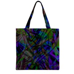 Colorful Abstract Stained Glass G301 Grocery Tote Bags by MedusArt