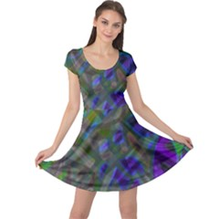 Colorful Abstract Stained Glass G301 Cap Sleeve Dresses by MedusArt