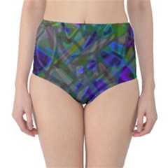 Colorful Abstract Stained Glass G301 High-Waist Bikini Bottoms by MedusArt