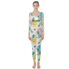 Pineapple Pattern 03 Long Sleeve Catsuit by Famous