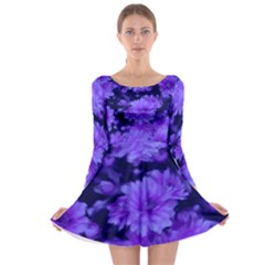 Phenomenal Blossoms Blue Long Sleeve Skater Dress