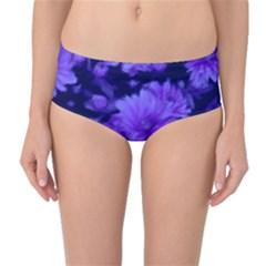 Phenomenal Blossoms Blue Mid Waist Bikini Bottoms