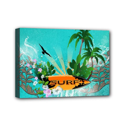 Surfboard With Palm And Flowers Mini Canvas 7  x 5  by FantasyWorld7