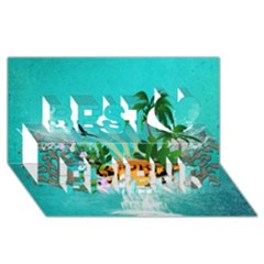Surfboard With Palm And Flowers Best Friends 3d Greeting Card (8x4)