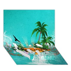 Surfboard With Palm And Flowers Love Bottom 3d Greeting Card (7x5)  by FantasyWorld7