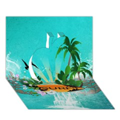 Surfboard With Palm And Flowers Apple 3d Greeting Card (7x5)