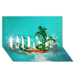 Surfboard With Palm And Flowers Hugs 3d Greeting Card (8x4)