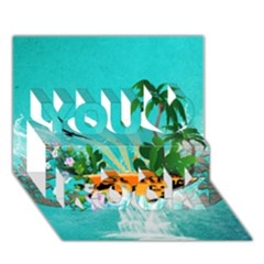 Surfboard With Palm And Flowers You Rock 3d Greeting Card (7x5)  by FantasyWorld7