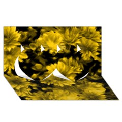 Phenomenal Blossoms Yellow Twin Hearts 3d Greeting Card (8x4)  by MoreColorsinLife