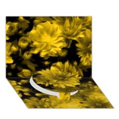Phenomenal Blossoms Yellow Circle Bottom 3d Greeting Card (7x5)