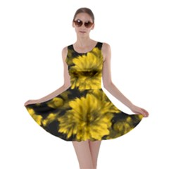 Phenomenal Blossoms Yellow Skater Dresses