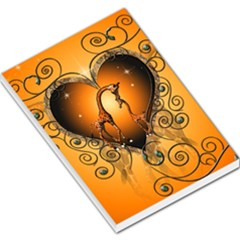 Funny Cute Giraffe With Your Child In A Heart Large Memo Pads
