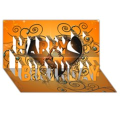 Funny Cute Giraffe With Your Child In A Heart Happy Birthday 3d Greeting Card (8x4)