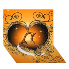 Funny Cute Giraffe With Your Child In A Heart Circle Bottom 3d Greeting Card (7x5)  by FantasyWorld7