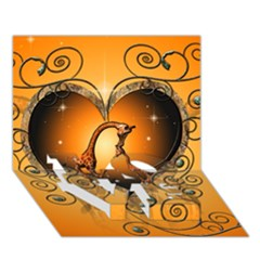 Funny Cute Giraffe With Your Child In A Heart Love Bottom 3d Greeting Card (7x5)