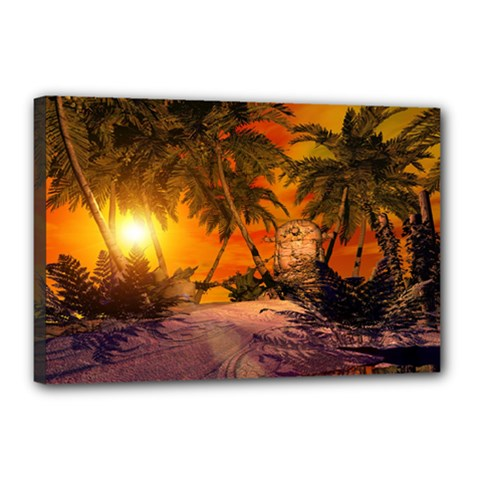 Wonderful Sunset In  A Fantasy World Canvas 18  X 12  by FantasyWorld7