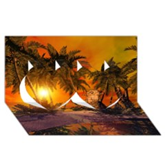 Wonderful Sunset In  A Fantasy World Twin Hearts 3d Greeting Card (8x4)