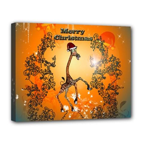 Funny, Cute Christmas Giraffe Canvas 14  X 11  by FantasyWorld7