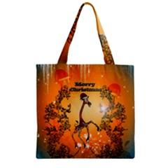 Funny, Cute Christmas Giraffe Zipper Grocery Tote Bags