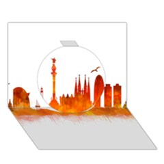 Barcelona 02 Circle 3d Greeting Card (7x5)