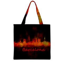 Barcelona City Dark Watercolor Skyline Grocery Tote Bags by hqphoto