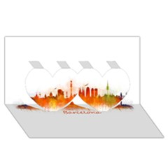 Barcelona City Art Twin Hearts 3d Greeting Card (8x4)  by hqphoto