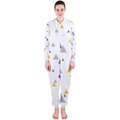 Pastel Random Triangles Modern Pattern Hooded Jumpsuit (Ladies)  by Dushan